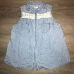 American Rag sleeveless chambray top with lace